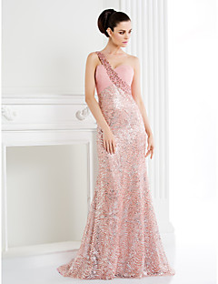 Homecoming TS Couture Formal Evening Dress - Trumpet/Mermaid One Shoulder Sweep/Brush Train Sequined