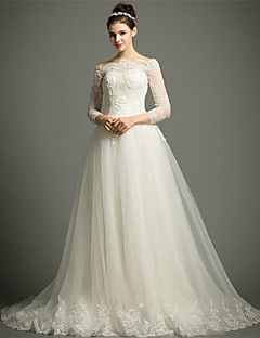 A-line Chapel Train Wedding Dress -Off-the-shoulder Tulle