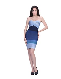 Column Strapless Short/Mini Nylon Taffeta Bandage Dress
