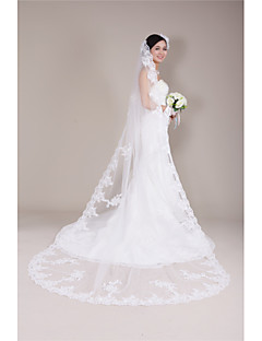 One-tier - Lace Applique Edge - Angel cut/Waterfall - Cathedral Veils ( White/Ivory/Beige , Applique )