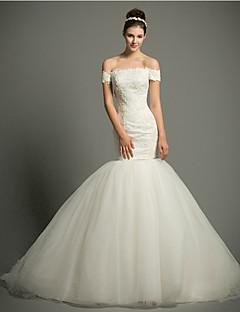 웨딩 드레스 - 아이보리(색상은 모니터에 따라 다를 수 있음) 핏 & 플레어 쿼트 트레인 오프 더 숄더 레이스