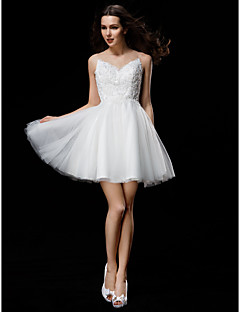 Lanting Bride Ball Gown Petite / Plus Sizes Wedding Dress-Short/Mini Jewel Tulle