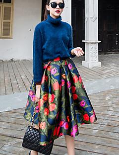 elásticos faldas midi medianas ocasional de la vendimia de las mujeres / lindo / partido / trabajo (gasa)