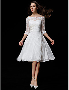 Lanting Bride A-line Petite / Plus Sizes Wedding Dress-Knee-length Off-the-shoulder Lace