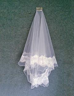 두층 - 레이스처리된 가장자리/펜슬 가장자리 - 클래식 - 팔꿈치 베일 ( 화이트 , 새해장식 )
