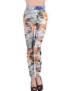 Damer Trykt mønster Legging Bomullsblandinger/Polyester Tynn