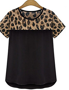 Women's Casual/Daily / Plus Size Simple Summer T-shirt,Animal Print Round Neck Short Sleeve White / Black Polyester Thin