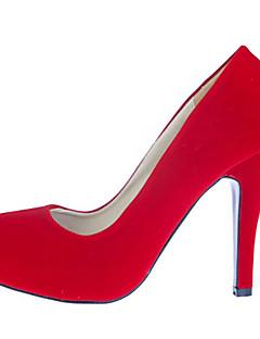 Women's Shoes Suede Stiletto Heel Heels/Round Toe Pumps/Heels Wedding/Party & Evening/Dress Green/Red/Beige