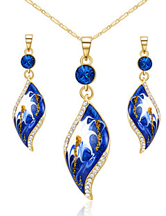 T&C Women's Sapphire Jewelry Set 18K Yellow Gold Plated Blue Crystal Leaf Style Pendant Necklace Earring Sets