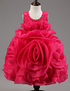 Flower Girl Dress Ball Gown Knee-length - Organza / Satin / Tulle / Polyester Sleeveless Jewel with