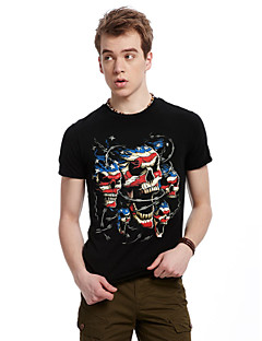YUNSI Men's 3D Casual/Work Round Short Sleeve T-Shirts (Cotton/Knitwear/Polyester)