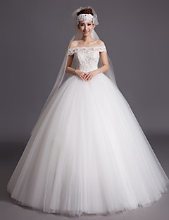 Ball Gown Wedding Dress Floor-length Off-the-shoulder Tulle with Appliques / Sequin