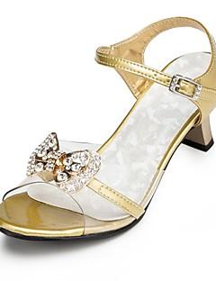Fille-Mariage / Soirée & Evénement-Rose / Argent / Or-Gros Talon-Talons / A Bride Arrière-Chaussures à Talons-Satin