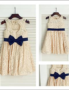 Flower Girl Dresses Tea-length A-line Jewel Dress