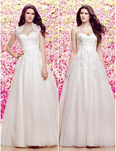 웨딩 드레스-아이보리(색상은 모니터에 따라 다를 수 있음) A 라인 / 프린세스 쿼트 트레인 스윗하트 레이스 / 튤 퍼티트