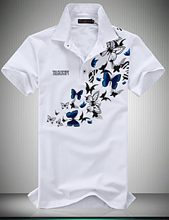 Men's Casual Slim Butterfly Print Polo Shirt , Cotton / Polyester Casual / Plus Sizes Print