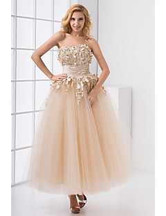 Homecoming Formal Evening Dress Strapless Ankle-length Satin/Tulle Dress
