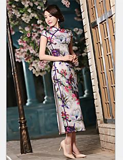 Formal Evening Dress - Gray Sheath/Column High Neck Tea-length Satin