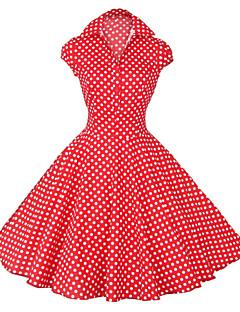 Robe Aux femmes Vintage / Soirée / Mignon , Points Polka Col de Chemise Mi-long Coton