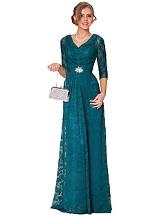 Formal Evening Dress - As Picture A-line V-neck Floor-length Lace