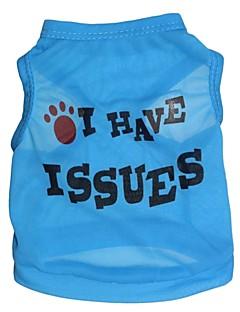 고양이 / 개 티셔츠 블루 강아지 의류 여름 문자와 숫자 코스프레
