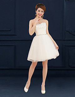 Short / Mini Tulle Bridesmaid Dress - Lace-up A-line Sweetheart with Appliques