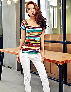 Women's Sexy Casual Stretchy Short Sleeve Regular T-shirt (Cotton)