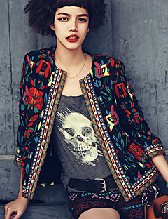 Women's Going out / Party/Cocktail Vintage Spring Jackets,Print Round Neck ¾ Sleeve Beige / Black Medium