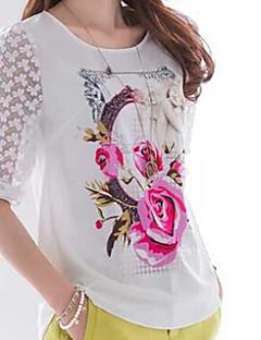 Γυναικεία T-shirt Καθημερινά Χαριτωμένο Φλοράλ,½ Μανίκι Στρογγυλή Λαιμόκοψη Άνοιξη Λεπτό Ρεϊγιόν Άσπρο