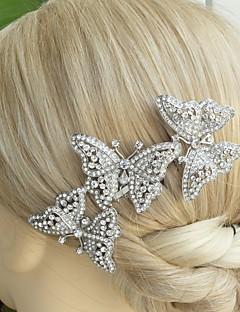 Wedding Silver-tone Clear Rhinestone Crystal Butterfly Hair Comb Bridal Headpiece Wedding Hair Comb