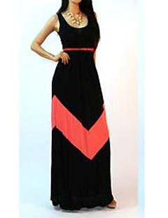 Mulheres Solto Vestido,Casual Plus Sizes / Sensual Color Block Decote em U Profundo Longo Sem Manga Azul / Rosa / Preto Algodão Verão