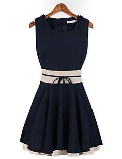 Повседневный - ЖЕНЩИНЫ - Платья ( Смешанная хлопковая ткань Круглые - Без рукавов