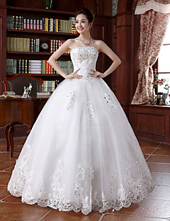 Ball Gown Wedding Dress - White Floor-length Strapless Lace
