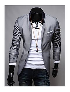 Herren Solide Lässig/Alltäglich Arbeit Blazer Langarm Standard Baumwolle Polyester