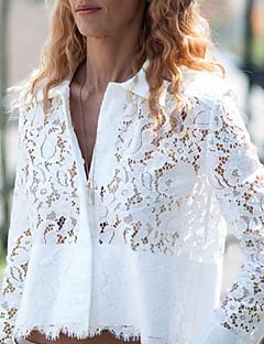 Mulheres Camisa Casual Simples Verão,Sólido Branco Colarinho de Camisa Manga Longa Leve Transparência