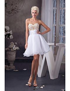 Cocktail Party Dress A-line Sweetheart Knee-length Organza Women Short Dress