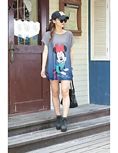Mulheres Camiseta Casual Simples / Moda de Rua Verão,Estampado Azul / Rosa Seda Decote Redondo Manga Curta Fina