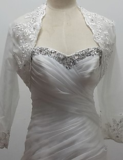 Wedding  Wraps Boleros 3/4-Length Sleeve Tulle/Sequined White Bolero Shrug