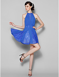 Homecoming Short/Mini Chiffon/Lace Bridesmaid Dress - Royal Blue A-line Jewel
