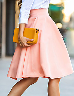 Women's Solid Pink Skirts , Work / Casual / Day Above Knee