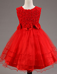 A-line Knee-length Flower Girl Dress - Lace / Satin / Tulle / Sequined / Polyester Sleeveless