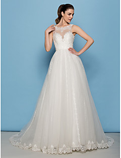 Lan Ting A-line/Princess Wedding Dress - Ivory Court Train Scoop Lace / Tulle