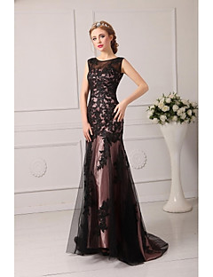 Formal Evening Dress - Black Plus Sizes / Petite A-line Jewel Court Train Tulle