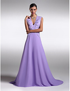 Formal Evening Dress - Lavender A-line V-neck Sweep/Brush Train Chiffon