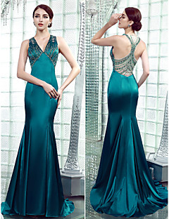 Formal Evening Dress - Beautiful Back Trumpet / Mermaid V-neck Floor-length Stretch Satin with Beading