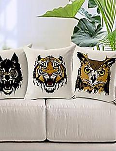 un ensemble de trois terribles coton visage animal / linge taie d'oreiller décoratif