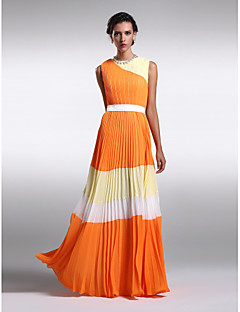 Lanting Bride® Floor-length Chiffon Color Block Bridesmaid Dress - Sheath / Column Jewel Plus Size / Petite with Draping