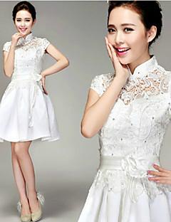 A-line Short/Mini Wedding Dress -High Neck Lace
