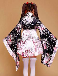 תלבושות חליפות חדרניות Wa Lolita נסיכות Cosplay שמלות לוליטה ורוד טלאים פרחוני משורר (מתרחב בסוף) שרוול ארוך אורך קצרמעיל קימונו חצאית