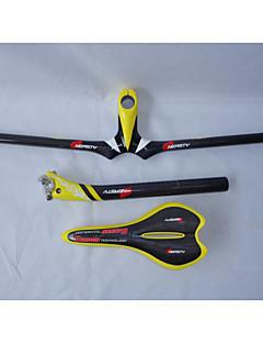 HB14+SA10+SP16 Neasty Brand Full Carbon Fiber Mtb Bike Stem Handlebar Seatpost Saddle Yellow Color 3k Weave